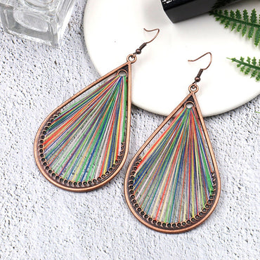Large Water Drip String Dangle Hanging Boho Bohemian Ethnic Drop Earrings