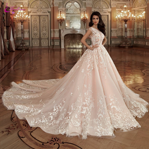 Elegant Lace Of Ball Gown Wedding Backless Princess Bride Dress