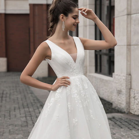 V Neck A Line Appliques Sleeveless Pleats With Sweep Wedding Dresses