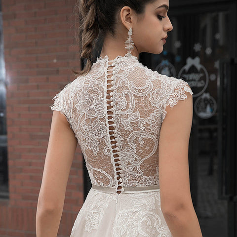 High Neck Champagne Wedding A Line Button Lace With Chapel Dresses