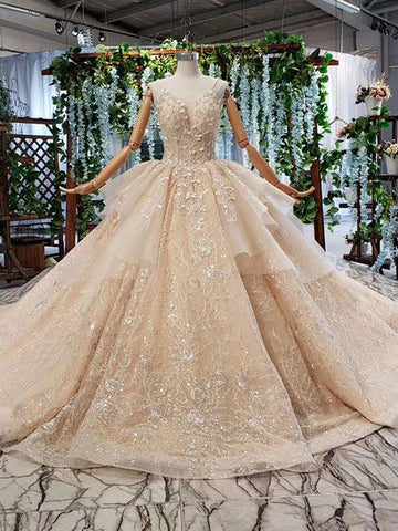 champagne gowns or bride beading appliques v-neck long wedding dress