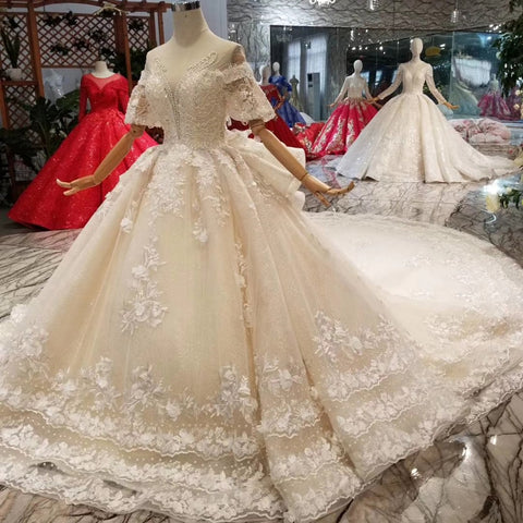 wedding o-neck short sleeves appliques ball gown bridal dress