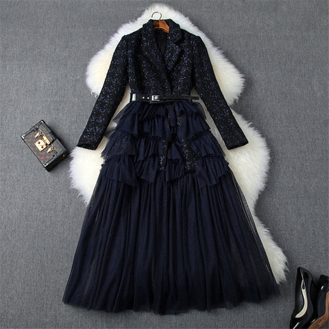 Ladies Elegant Office Blazer Runway Long Sleeve Dress