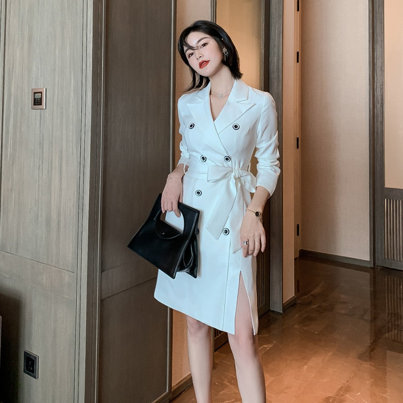 Lapel White Elegant Lace Up Double Breasted Office Lady Blazer Dresses