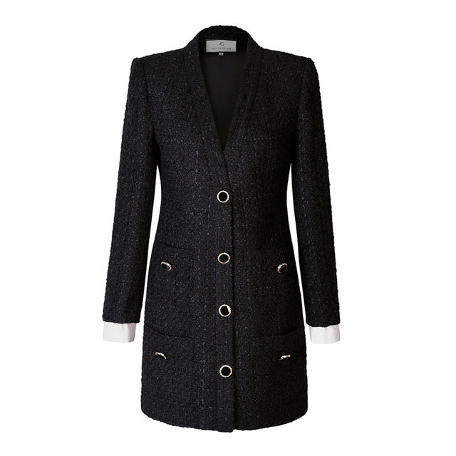 Vintage Tweed Blazers Sexy slim Mini Suit office streetwear Dress