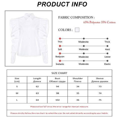 Streetwear Puff Sleeve White Office Shirts Blouses Long Sleeve