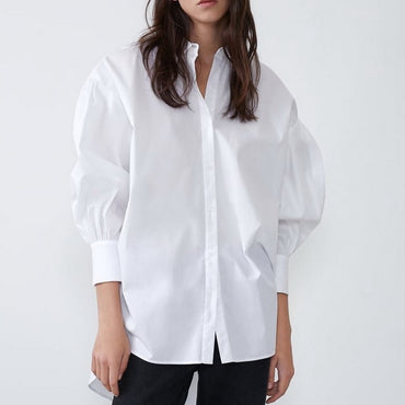 Long Shirt New Fashion White and Black Blouse