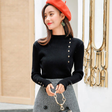 Black Sweater Casual Button Decoration Sweaters Lady Fashion