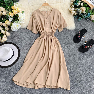 V Neck Ladies Slim Button Midi Long Dress
