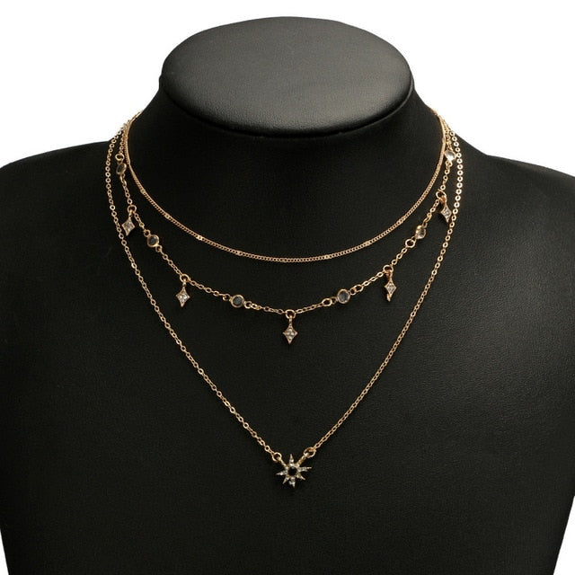 Necklace Multilayered Golden Clavicle Chain Stars Geometric
