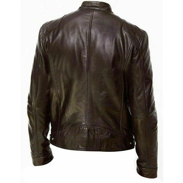 Genuine Black&Brown Leather Jacket Fashion Slim Fit