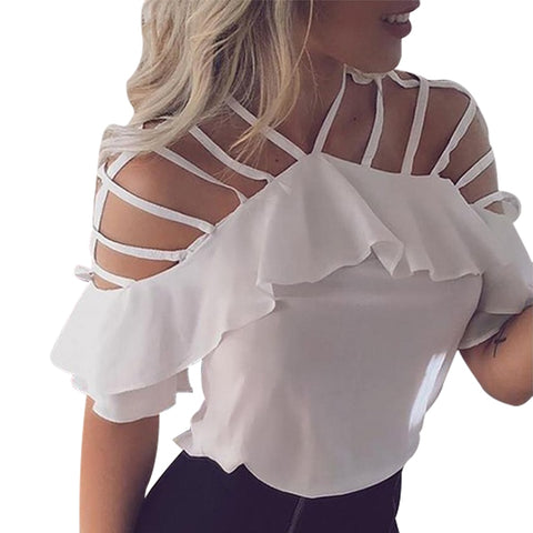 Chiffon Blouses Short Sleeve Hollow Out Tops Sexy Shoulder