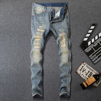 Fashion Jeans Retro Wash Ripped Jeans Embroidery Vintage