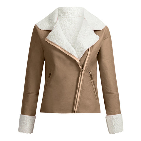 Lapel Suede Leather Buckle Cool Pilot Jacket Faux Lamb
