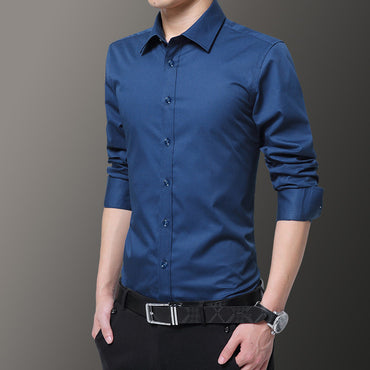 business white elegant cotton polyester social dress shirts