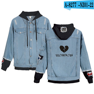Lil Peep Cry Baby Denim Jacket Xxxtentacion Revenge Hooded Denim Jacket
