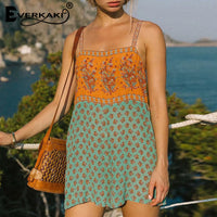Boho Rompers Playsuits Floral Print Beach Ethnic