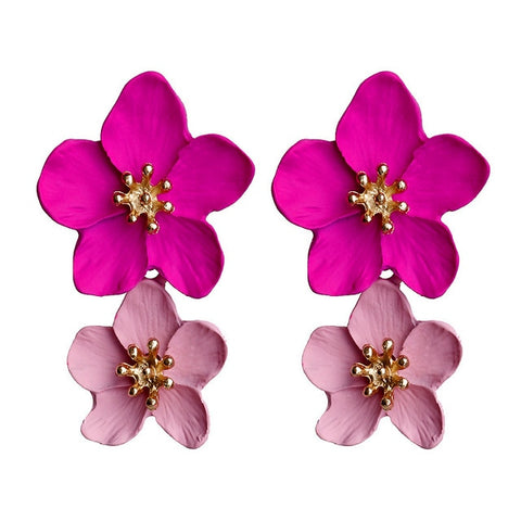 New Design Fashion Jewelry Big Double Flower Mixed Color Earrings
