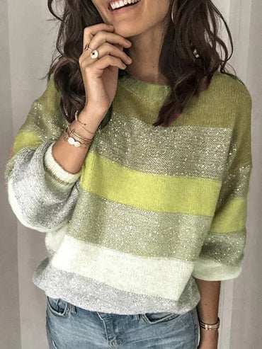 Loose Casual Knit Female Long Sleeve Striped Knitted Sweaters