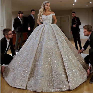 New Luxury Beaded Ball Gown Wedding Dress