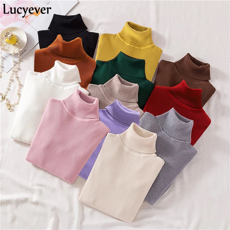 Lucyever Turtleneck Knitted Pullovers Sweater Fashion