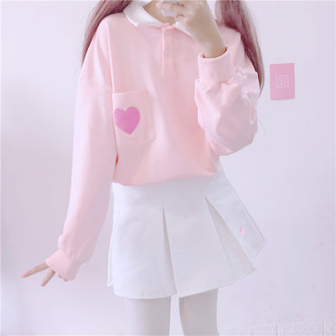 loose pullover cute heart embroidery pocket polp collar  pink sweatshirt