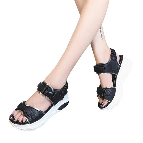 Buckle Leather Sandals Thick Bottom Shoes Fashion
