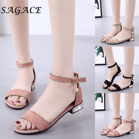 Shoes leather ladies buckle sandals rubber beach sandals