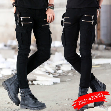Green Black Denim Biker Jeans Skinny Runway