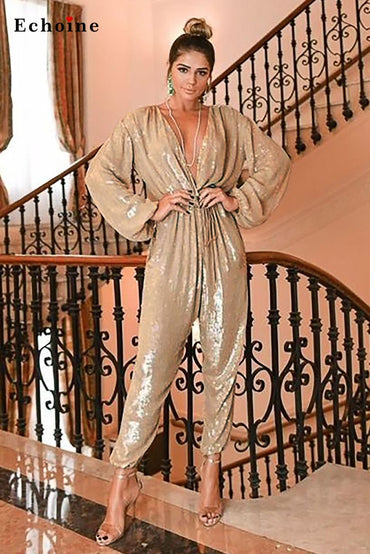 Party Elegant Deep V Neck Sequin Jumpsuit Long Sleeves