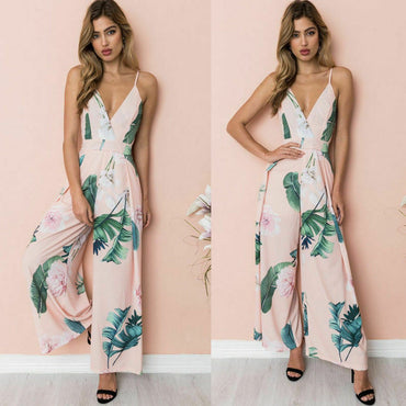 Sexy Boho Jumpsuits Sleeveless Floral Loose Wide Leg  Rompers