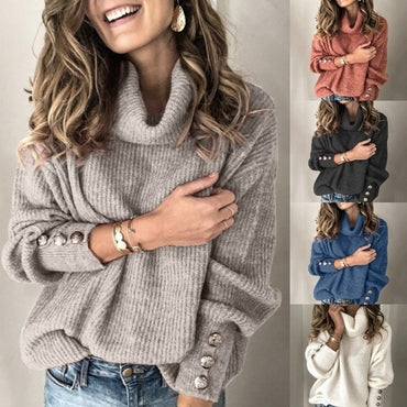 High Collar Solid Color Fashion Loose Knit Sweaters