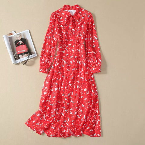 Bow Bohemia Long Sleeve Print Slim Temperament Party Red Dress