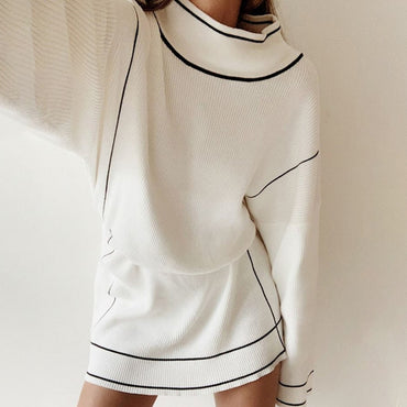 White Sweater Street Style High Neck Loose Long Sleeve Dress
