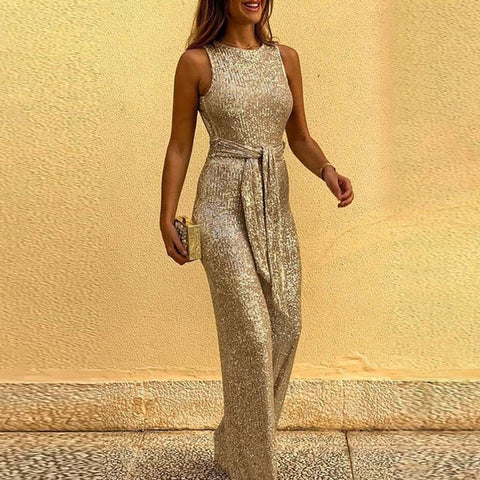 Elegant Sexy Backless Sequin Romper Jumpsuit
