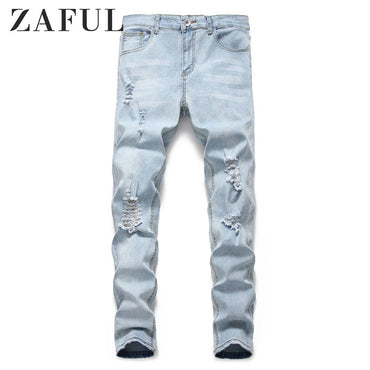 Light Wash Distressed Design Jeans New Hole Pleated Decorative Jean