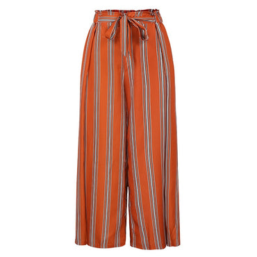 Boho Striped Beach Wide Leg Pants New Arrival Lace Up