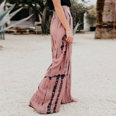 Pants Printed High Waist Wide Leg Casual Long Trousers