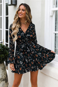 Boho Short Mini Long Sleeve Floral Dot V-Neck Dress