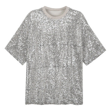 Sequined Top Short Sleeve Bling Shiny T Shirt
