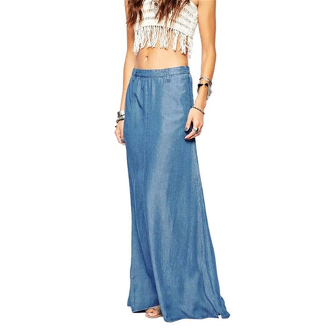 Long Maxi Skirt High Waisted Floor Length Denim Jeans Skirts