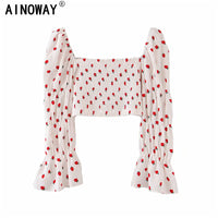 Vintage chic Strawberry print square collar cotton Boho blouse