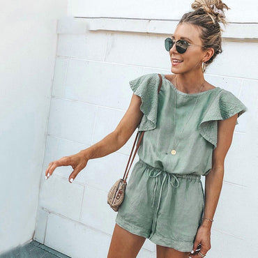 Casual Green Ruffle Lace Up Cotton Playsuit Pockets Rompers