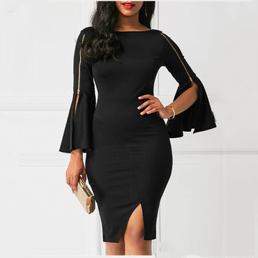 Black Office Lady Solid Cut Out Front Trim Zip Sleeve Dresses