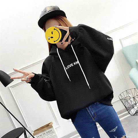 Hoodies Loose Large Size Zipper Letter Print Thickening Plus Sweatshirt