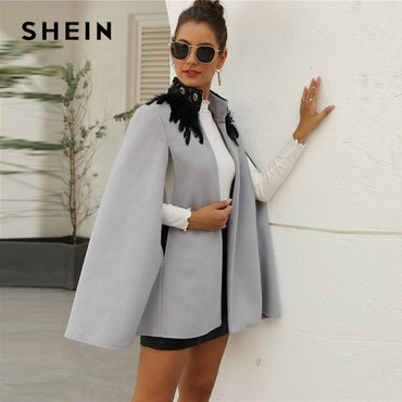 Feather Tweed Cape Coat Long Cape Sleeve High Street Outwear