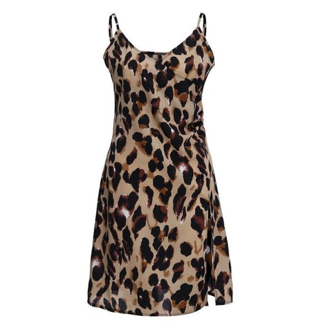 Mini Sling Temperament Sleeveless Casual Leopard Print Dresses
