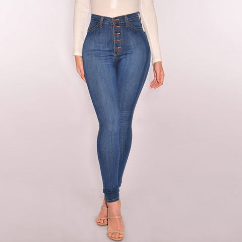 High Waist Jeans Skinny Pants Button Jeggings Casual