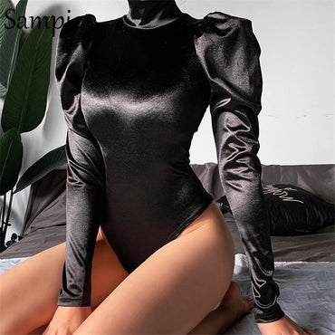 Sexy Casual Stain Turtleneck Long Puff Sleeve Bodysuit Romper