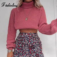 Turtleneck Crop Sweater Knitwear Slim Jumper Holiday
